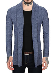 Men's Casual/Daily Simple Long Cardigan,Solid Hooded Long Sleeves Cotton Polyester Others Fall Winter Thick Micro-elastic