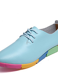 Women's Oxfords Jelly Shoes Spring Fall Leatherette Casual Dress Lace-up Flat Heel White Black Brown Blue Under 1in