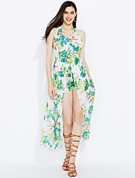 Women's Going out Beach Sexy Sophisticated Swing Dress,Print Halter Maxi Sleeveless Rayon Polyester All Seasons Mid Rise Micro-elastic