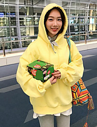 Women's Going out Hoodie Solid Hooded Stretchy Polyester ¾ Sleeve Spring Fall