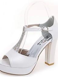 Women's Sandals Slingback Summer PU Walking Shoes Dress Rhinestone Chunky Heel White Silver 3in-3 3/4in