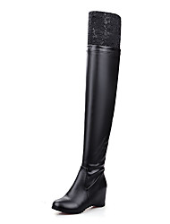 Women's Boots Fashion Boots Slouch boots Winter Leatherette Casual Dress Stitching Lace Split Joint Wedge Heel White Black 2in-2 3/4in