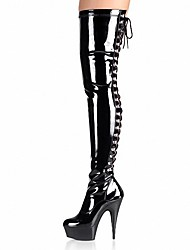 Women's Boots Fashion Boots Winter PU Party & Evening Buckle Stiletto Heel White Black Gray Ruby 5in & over