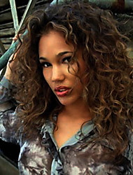 African American Jerry Curly Wig Mixed Brown Capless Human Hair 18inch Middle Long Length Woman Wig