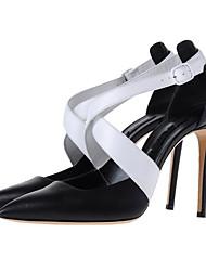 Для женщин Обувь на каблуках Овчина Лето Осень Для прогулок Молнии С отверстиями На шпильке Черный 7 - 9,5 см
