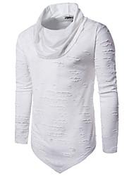 T-shirt Da uomo Per uscire Casual Semplice Autunno Inverno,Tinta unita A collo alto Cotone Poliestere Manica lunga
