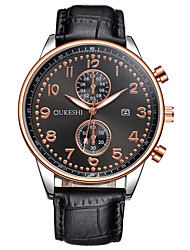 Hombre Reloj de Vestir Reloj de Moda Reloj de Pulsera Reloj creativo único Reloj Casual Chino Cuarzo Calendario Esfera Grande Piel Banda