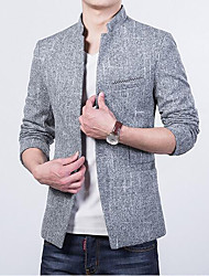 Men's Casual/Daily Simple Fall Blazer,Solid Stand Long Sleeve Regular Polyester