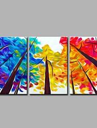 Pintados à mão Botânico Artistíco Legal Moderno/Contemporâneo Escritório/Negócio Natal Ano Novo 3 Painéis Tela Pintura a Óleo For