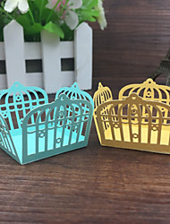 2017 New 50pcs Love Birdcage Laser Cut Cupcake Wrappers Chocolate Packaging Bar Candy Box Wedding Decorations Party Supplies