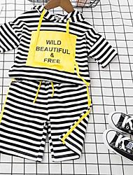 Girls' Stripes Sets,Cotton Polyester Summer Short Sleeve Clothing Set