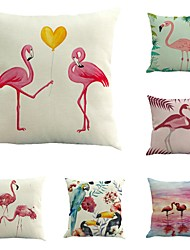 Set Of 6 Tropical Romance Flamingo Pillow Cover Classic Printing Pillow Case