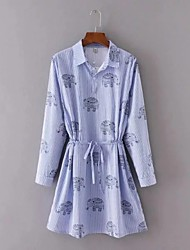 Feminino Solto Vestido,Para Noite Casual Simples Moda de Rua Sólido Listrado Estampa Animal Colarinho de Camisa Acima do JoelhoManga