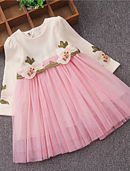 Girl's Birthday Casual/Daily Holiday Solid Floral Dress,Cotton Polyester Spring Fall Long Sleeve