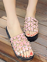 Women's Sandals Comfort PU Summer Casual Comfort Blushing Pink White 3in-3 3/4in