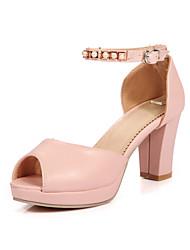 Women's Heels Basic Pump Spring Summer Synthetic Microfiber PU PU Wedding Dress Party & Evening Office & Career Buckle Chunky Heel White