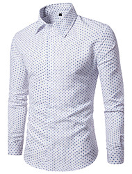 Men's  Casual/Daily Work Simple Street chic Chinoiserie Spring Fall ShirtSolid Polka Dot Classic Collar Long Sleeve CottonOpaque