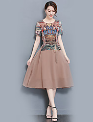 Women's Party Holiday Going out Casual/Daily Vintage Street chic Sophisticated Loose Dress,Floral Round Neck Midi Half Sleeves Polyester