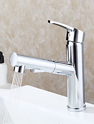 Classic Centerset Pullout Spray Pull out with  Ceramic Valve Single Handle One Hole for  Chrome , Bathroom Sink Faucet