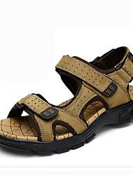 Men's Sandals Comfort Summer Cowhide Walking Shoes Casual Hook & Loop Flat Heel Dark Brown Khaki 2in-2 3/4in