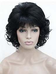 New Short Wavy Curly Blak Full Synthetic Wigs Wig