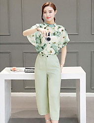 Women's Casual/Daily Simple Summer Blouse Pant Suits,Floral Crew Neck Short Sleeve