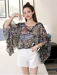 Women's Going out Sexy Blouse,Floral Print Round Neck Half Sleeves Cotton Polyester