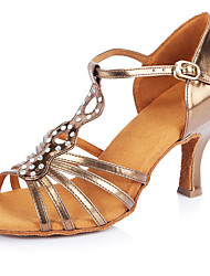 2017 Classic Brand Professional Modern Latin Sandals Customizable Women's Dance Shoes  Heel-Height 6.5CM shoes Leather Gold