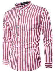 Men's Going out Work Simple Fall Shirt,Striped Stand Long Sleeves Cotton