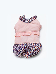 Dog Coat Dog Clothes Casual/Daily Leopard Blushing Pink White