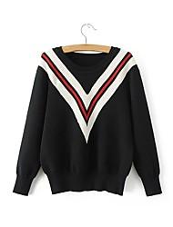 Standard Pullover Da donna-Per uscire Casual Semplice Romantico Tinta unita Monocolore Rotonda Manica lunga Lana Cotone Primavera Autunno