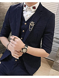 Men's Party/Cocktail Going out Casual/Daily Work Street chic Fall Winter Blazer,Striped Peaked Lapel ¾ Sleeve Regular Polyester