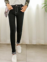 Women's Mid Rise Micro-elastic Jeans Pants,Simple Skinny Solid