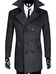 Men's Casual/Daily Simple Street chic Fall Winter CoatSolid Shirt Collar Long Sleeve Long Wool Cotton k524