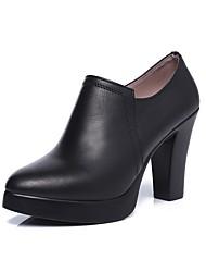 Для женщин Ботинки Ботильоны Весна Осень Натуральная кожа Повседневные На толстом каблуке Черный 7 - 9,5 см