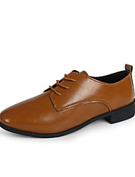 Women's Oxfords Formal Shoes Comfort PU Spring Fall Office & Career Dress Formal Shoes Comfort Chunky HeelArmy Green Brown Black