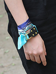Women's Polyester Wrap Bracelet Handmade Fashion Genuine Leather Casual Unique Classic Scarves Decorate Jewelry Bracelets Bangle Accessories