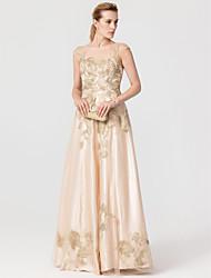 Prinzessin Schmuck Boden-Länge Tüll Stretch - Satin Formeller Abend Kleid mit Applikationen Kristall Verzierung durch TS Couture®