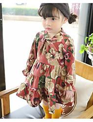 Menina de Vestido Floral Verão Raiom Manga Longa