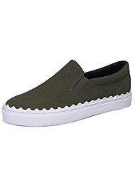 Women's Flats Walking Formal Shoes PU Fall Casual Dress Flat Heel Light Brown Army Green Black 1in-1 3/4in
