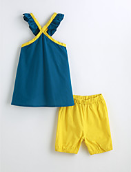 Girls' Solid Sets,Cotton Summer Sleeveless Clothing Set