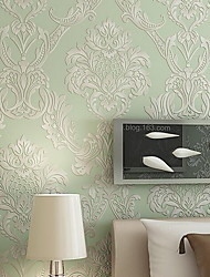 Luxury Flower/Floral Wallpaper For Home Luxury Wall Covering , Non-woven fabric Material Adhesive required Wallpaper , Room Wallcovering