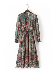 Ample Robe Femme Sortie Décontracté / Quotidien simple Chic de Rue,Imprimé Col Arrondi Midi Manches Longues Soie Coton AcryliquePrintemps