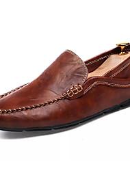 Men's Loafers & Slip-Ons Light Soles Spring Summer PU Casual Flat Heel Black Brown Blue Under 1in