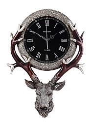 Модерн Традиционный Деревенский Повседневный Ретро Животные Настенные часы,Elk Животный принт Резина В помещении Часы