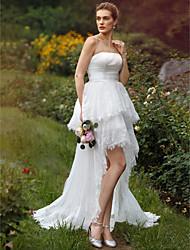 Robe de Soirée Sans Bretelles Asymétrique Dentelle Organza Robe de mariée avec Appliques Ceinture / Ruban Drapée Etagée par LAN TING