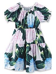 Robe Fille de Fleur Imprimé Géométrique Coton Eté Sans Manches