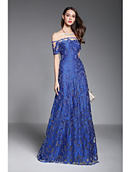 A-Line Off-the-shoulder Floor Length Tulle Formal Evening Dress with Embroidery by YIYIAI