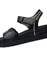 Damen Sandalen Komfort Sommer PU Normal Klettverschluss Niedriger Absatz Weiß Schwarz 5 - 7 cm