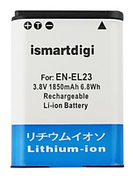 Ismartdigi EL23 3.8V 1850mAh Camera Battery for Nikon EN-EL23 EL23 P600 P610S S810C P900s